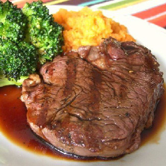 Espresso-Bourbon Steak with Mashed Sweet Potatoes