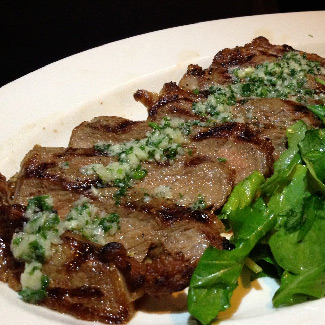 Grilled Steak with Arugula Pesto and Vodka-Tomato Sauce
