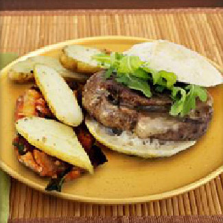 Maitake Mushroom and Machego Stuffed Burger