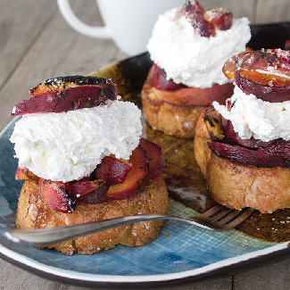 Grilled Pound Cake & Peaches with Bourbon Whipped Cream